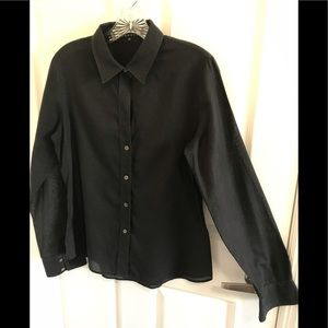 THEORY Sheer Black Button Down Size XL